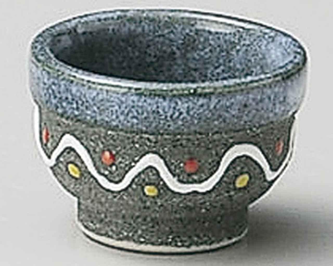 Blue-Glaze Wave 2.2inch Sake Cup Grey Ceramic Made in Japan