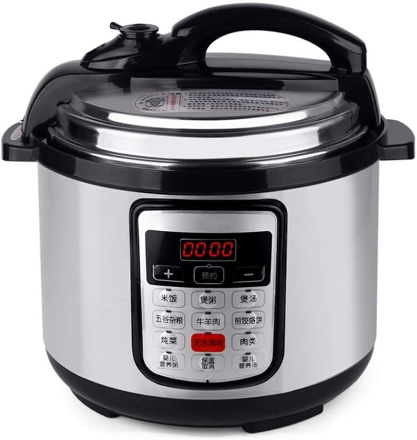 6L 8L Multifunction Stainless Steel Electric Pressure Cooker Digital Control Rice Steamer Slow Cooking Pot silver 8L