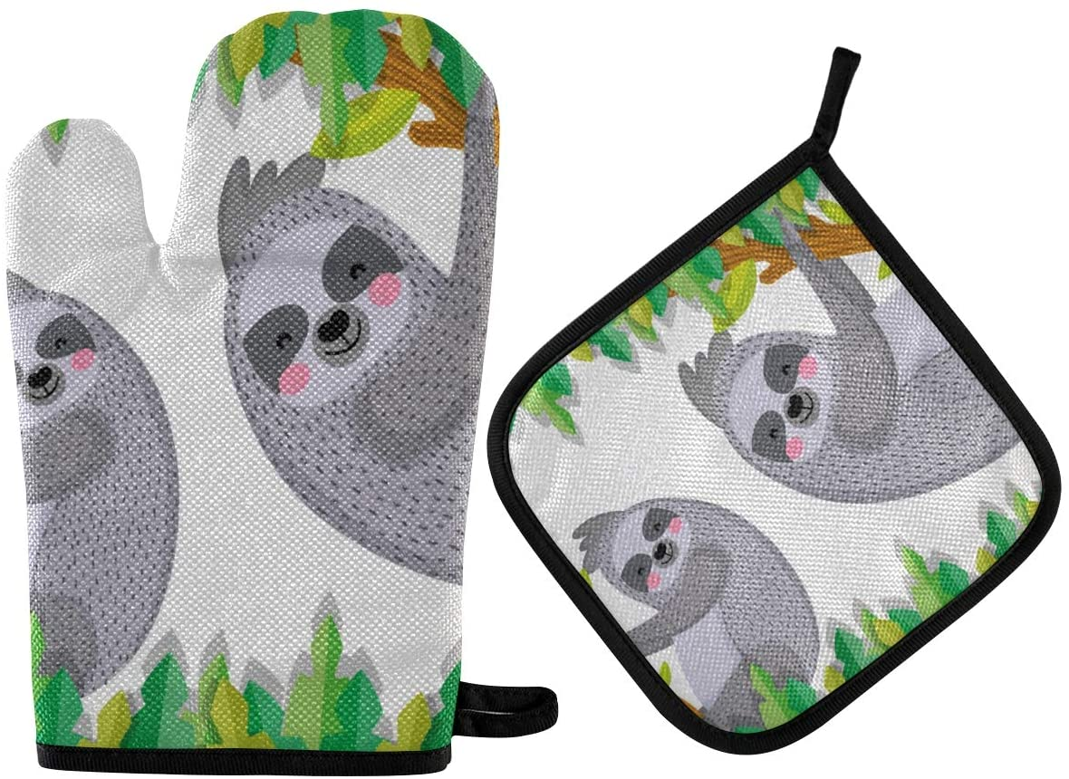 DOMIKING Pot Holders Oven Mitts Sets - Cute Sloths Animals Cartoons Hot Gloves Heat Resistant Hot Pads Non-Slip Potholders for Kitchen Cooking Baking Grilling