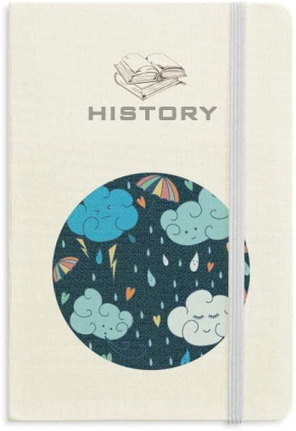 Cloud Umbrella Rain Heart History Notebook Classic Journal Diary A5