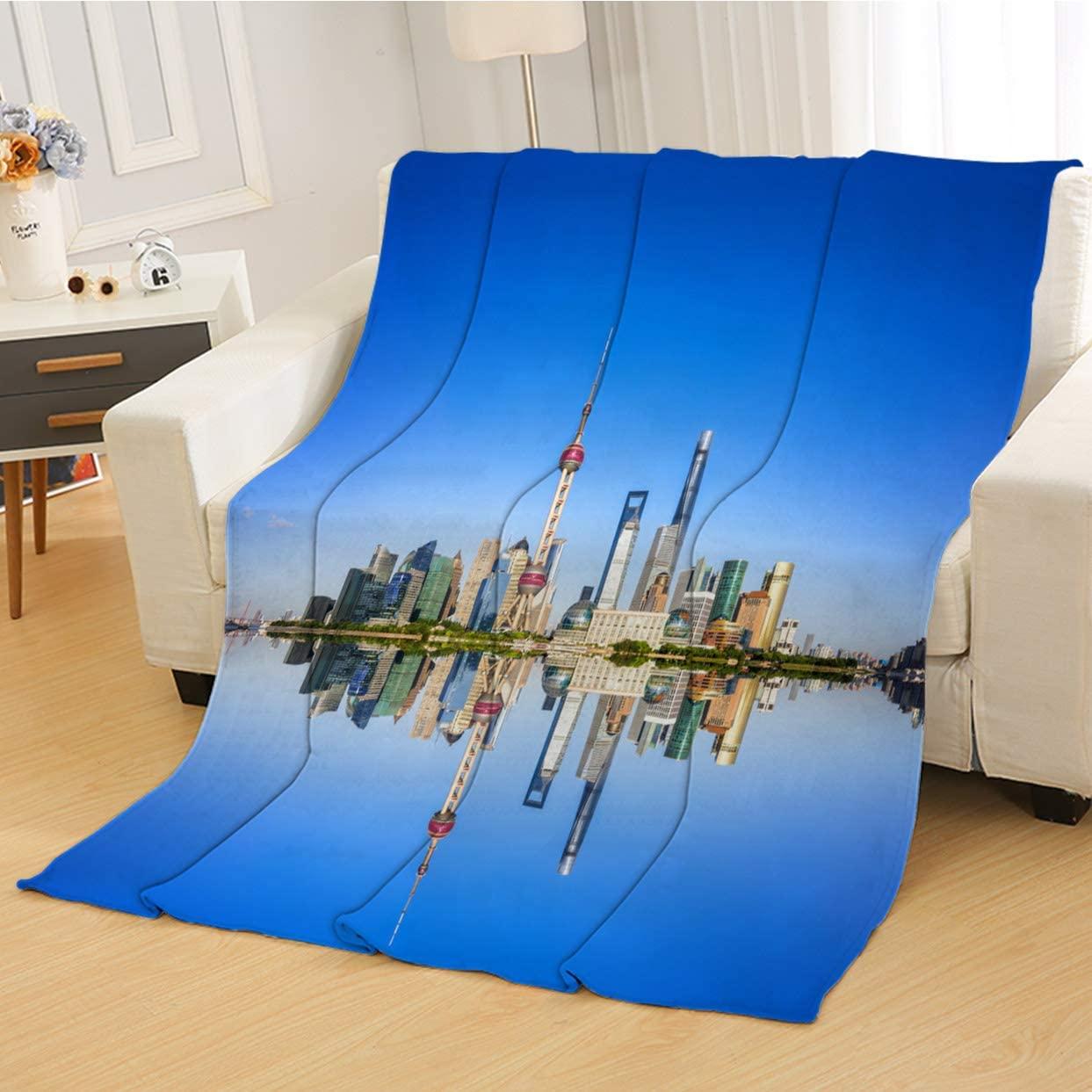 RLDSESS Landscape Soft Baby Blanket, All Season Blanket,Shanghai Landscape,Soft Weighted Blanket,Baby Size: 31Wx47L inch