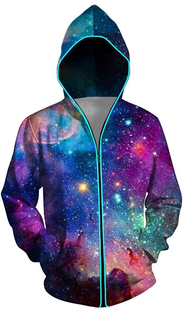 Couple Hooded Jacket,Mens Women Led Colorful Glowing Coat Luminous Zipper Tops Clubwear Coat