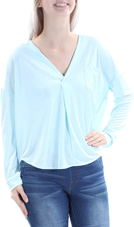 KIIND OF Starlight Blue Long-Sleeve Jackson Oversized V-Neck Top S
