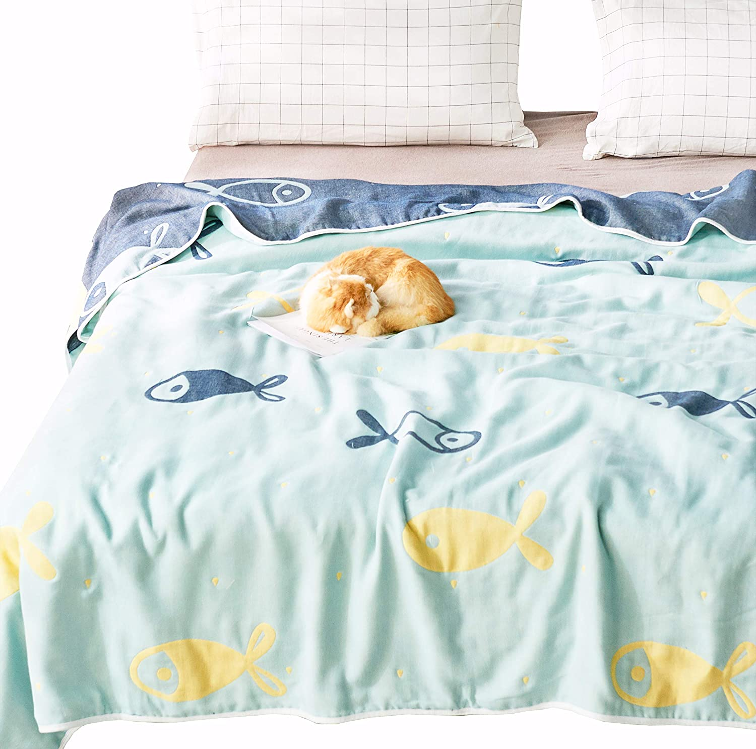 J-pinno Fish Muslin Blanket Reversible Cozy Soft 100% Cotton 6 Layer Quilt Bed Blanket Throw Sofa Couch Toddler Kids Boys Cartoon Travel Coverlet Sheet (Fish, F/Q 76