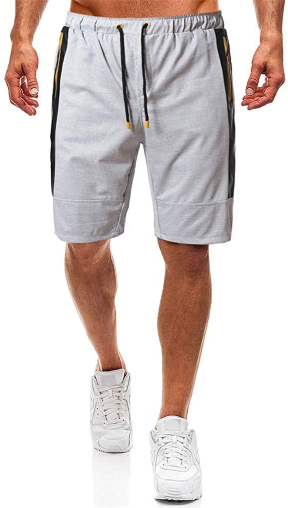 Forthery-Men Lightweight Bermuda Shorts Drawstring Zipper Pocket Hiking Travel Golf