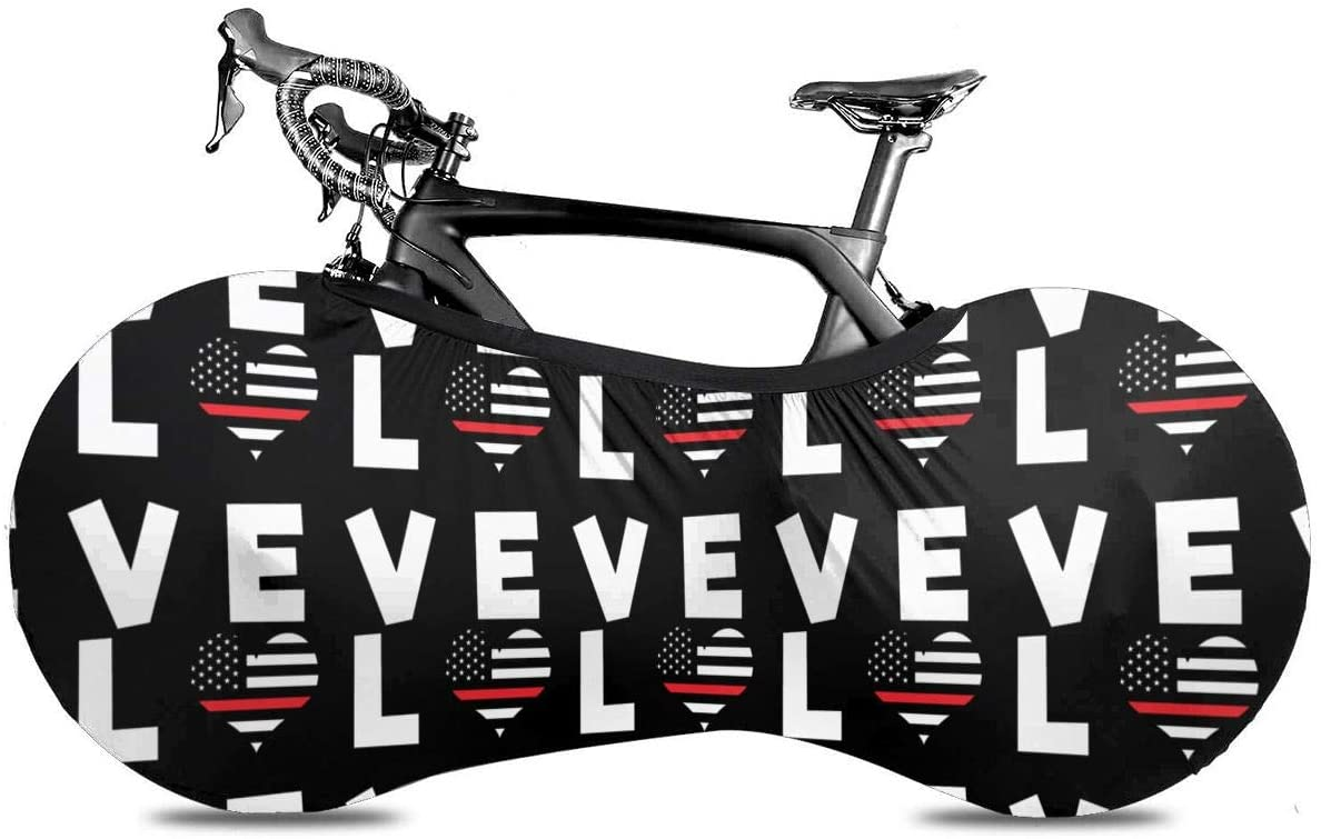 KLQ Love Red Line Flag Heart Firefighter Bike Dust Cover Bicycle Wheel Protective Case