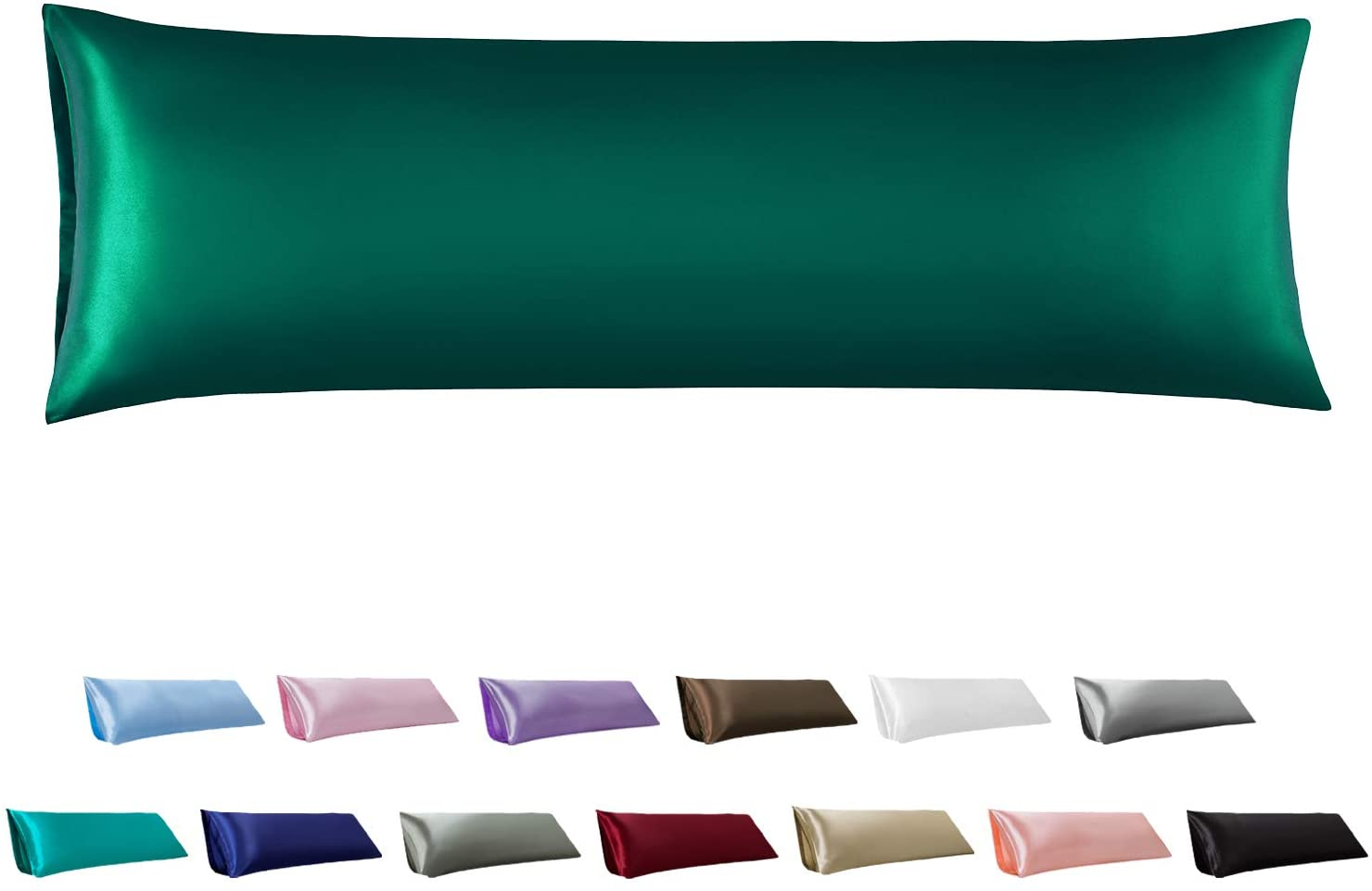 MR&HM Satin Body Pillow Cover 20x54 inches, Silky Slip Body Pillow Pillowcases No Zipper, Long Pillow Protector Covers with Envelope Closure for Adults Pregnant Woman (Dark Green)