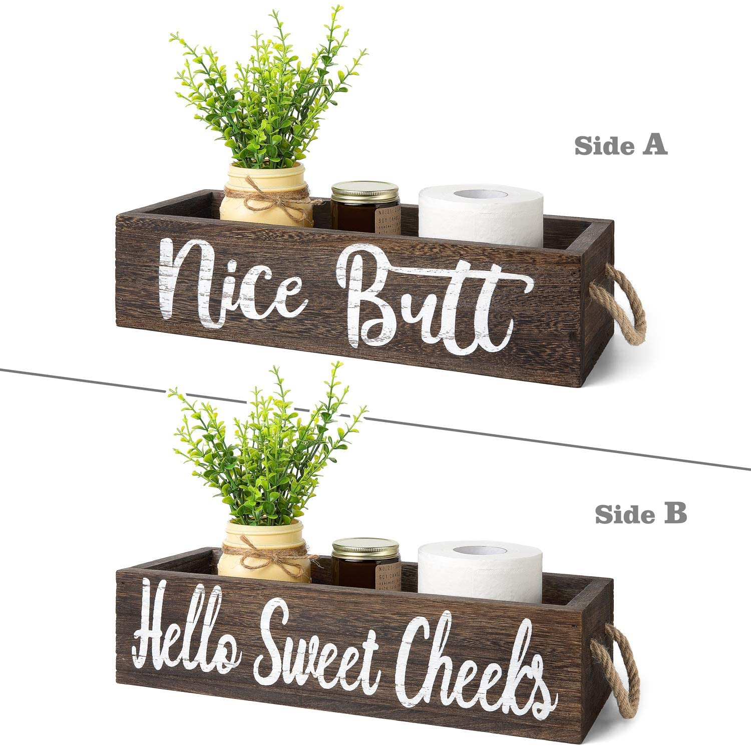 Dahey 1 Pack Farmhouse Nice Butt Bathroom Decor Box 2 Sides Toilet Paper Holder Wood Tank with Funny Sign Rustic Home Decor for Kitchen Table Countertop (Major Jar and Artificial Flower Included)