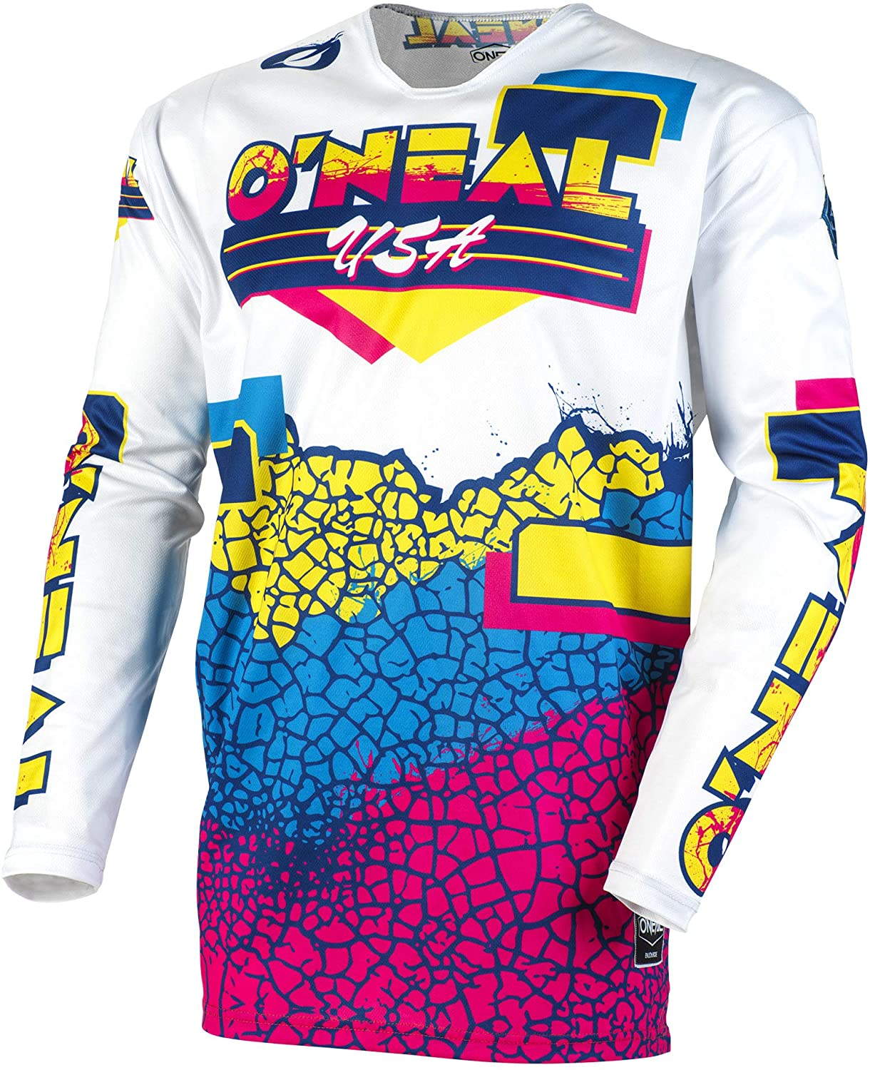 O'Neal Mayhem Crackle 91 Adult Jersey (Yellow/White/Blue, L)