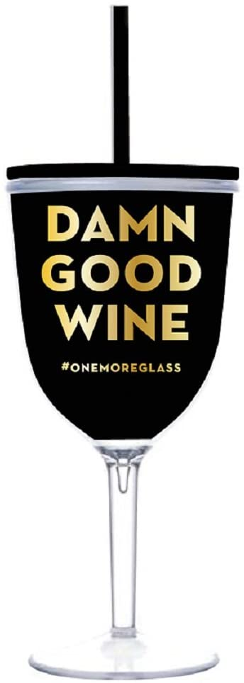 Creative Brands Slant Collections - Acrylic Wine Glass Tumbler, 13-Ounce, Damn Good