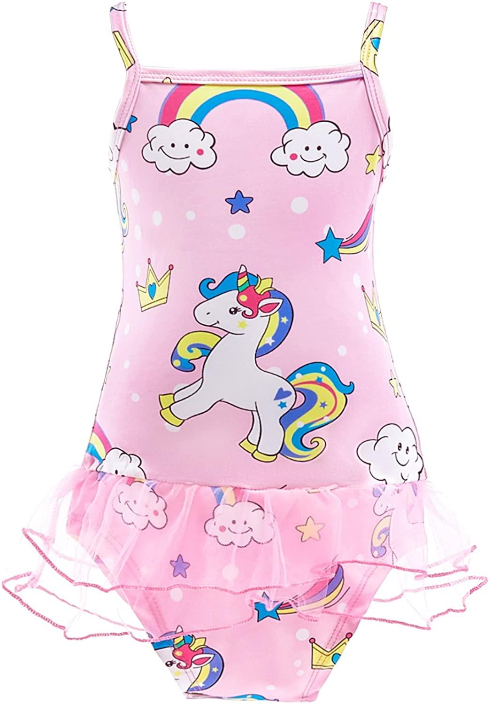 Lito Angels Girls Unicor Swimsuit Bathing Suit Swimwear Beachwear Outfit One Piece Size 4 Pink 053