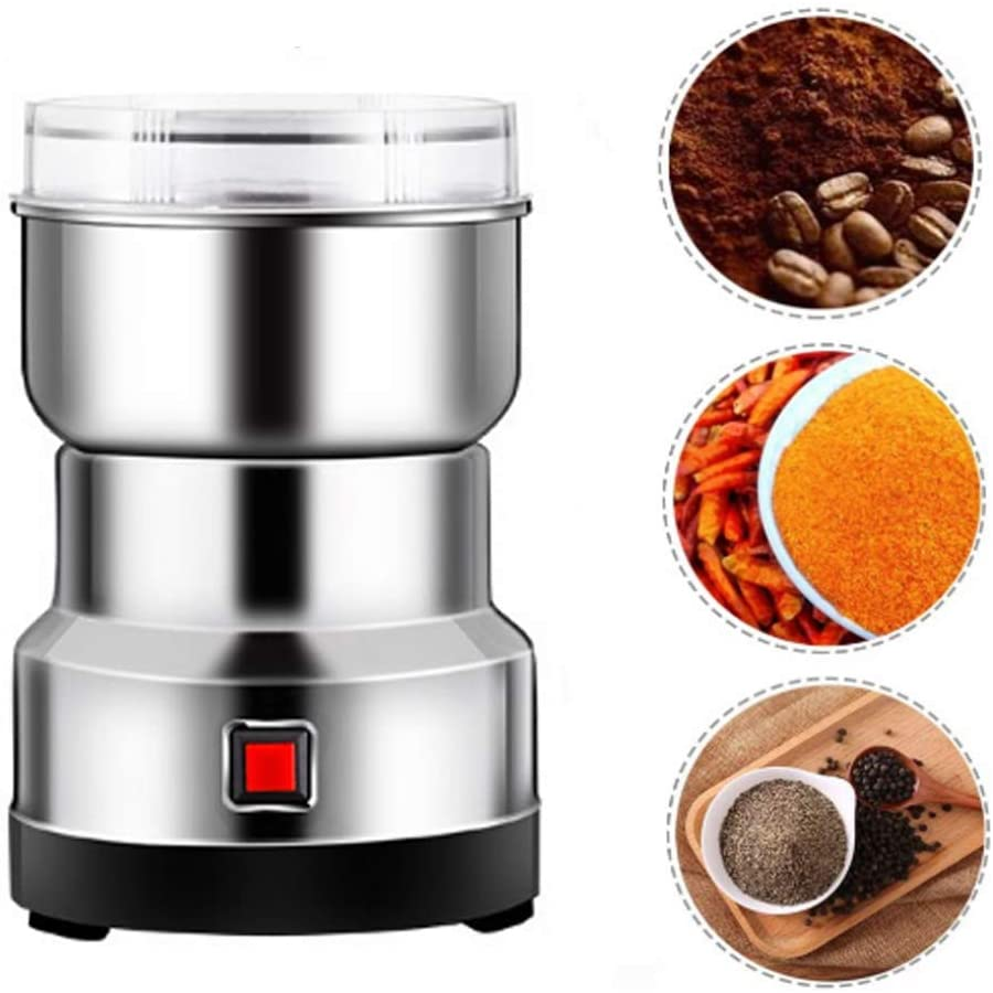 GOBEAUTY Multifunction Smash Machine Portable Electric Grain Grinder Coffee Grinder Electric for Spice Herb Cereal Beans(Silver)
