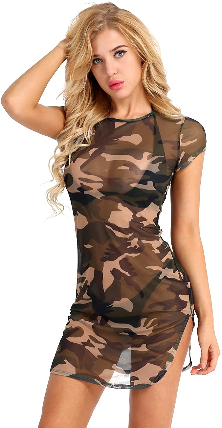 Freebily Sexy Womens Lingerie Camouflage T-Shirt Dress Side Slit Sheer Mesh See Through Chemise Dress