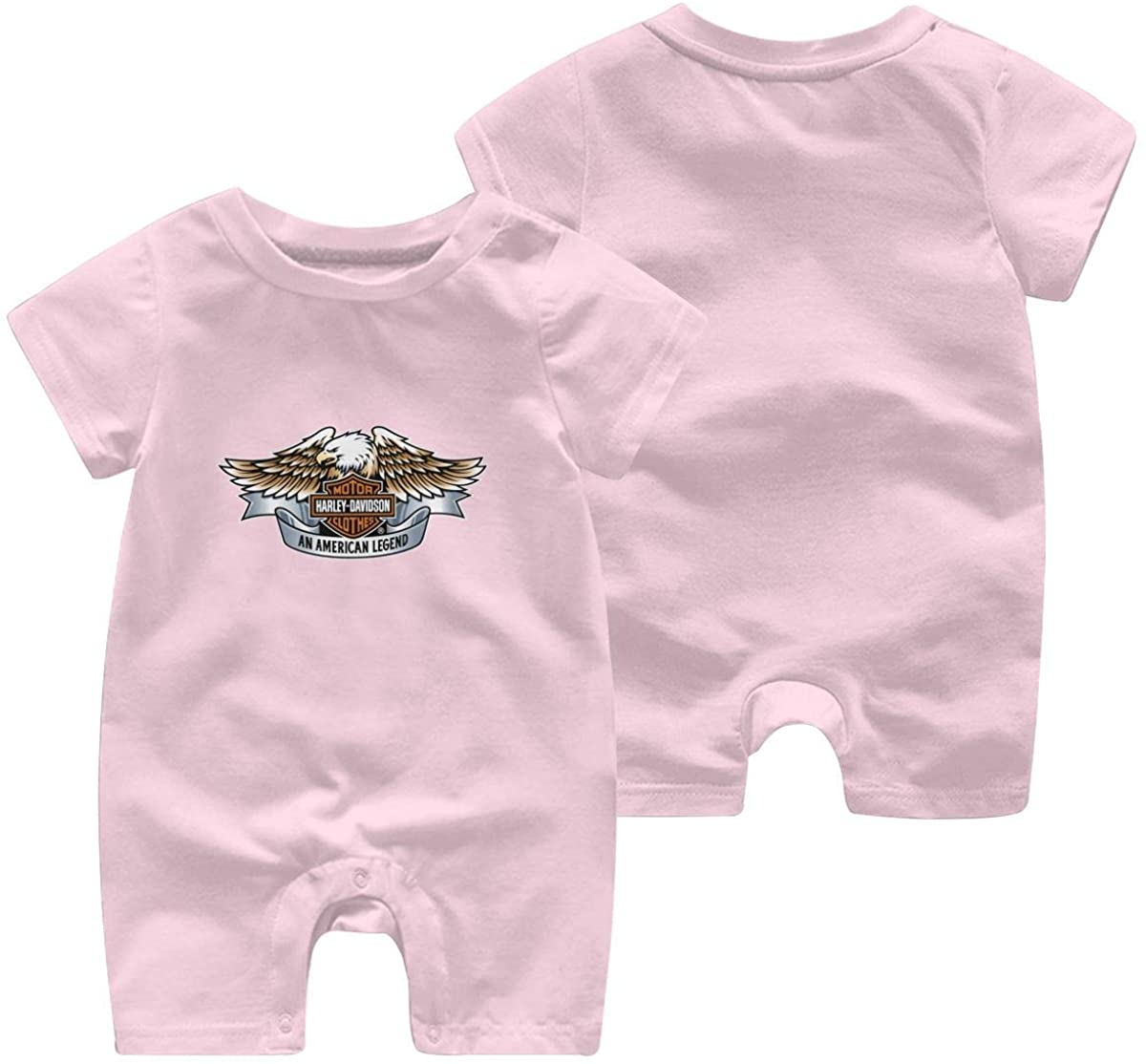 Harley Davidson One Piece Outfits Baby Solid Color Rompers with Button Kids Short Sleeve Playsuit Jumpsuits Cotton Clothing 18 Months Pink