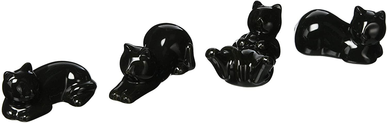 Japanese Ceramic Chopstick Rest Set - 4 Pieces Set, Black Cat