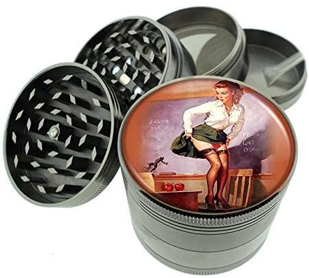 Pin Up Girl Titanium 4PC Herb Magnetic Grinder D-018