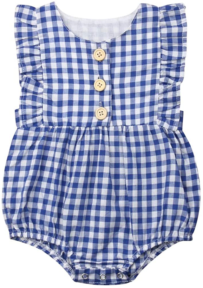 Newborn Toddler Baby Girl Plaid Ruffle Romper Bodysuit Flutter Sleeve Jumpsuit Outfit Clothes