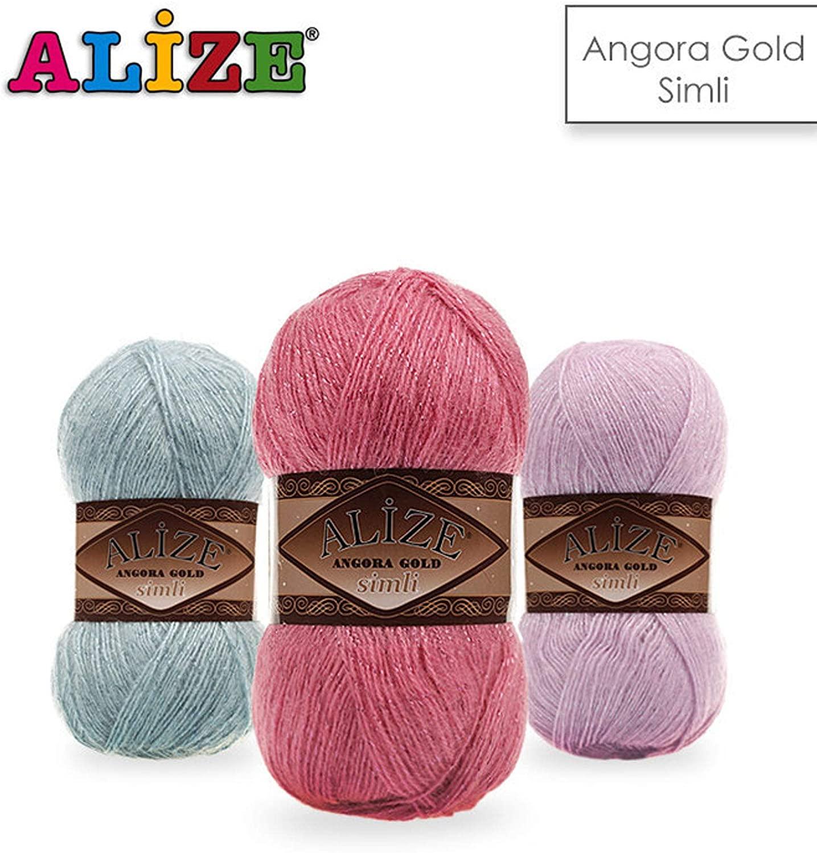 9 skn (9 Balls) Alize Angora Gold simli, Silvery, Wool Yarn, Acrylic Yarn, Knitting Yarn, Crochet Yarn, Wool Yarn, Sweater Yarn, Light Yarn, lace Yarn