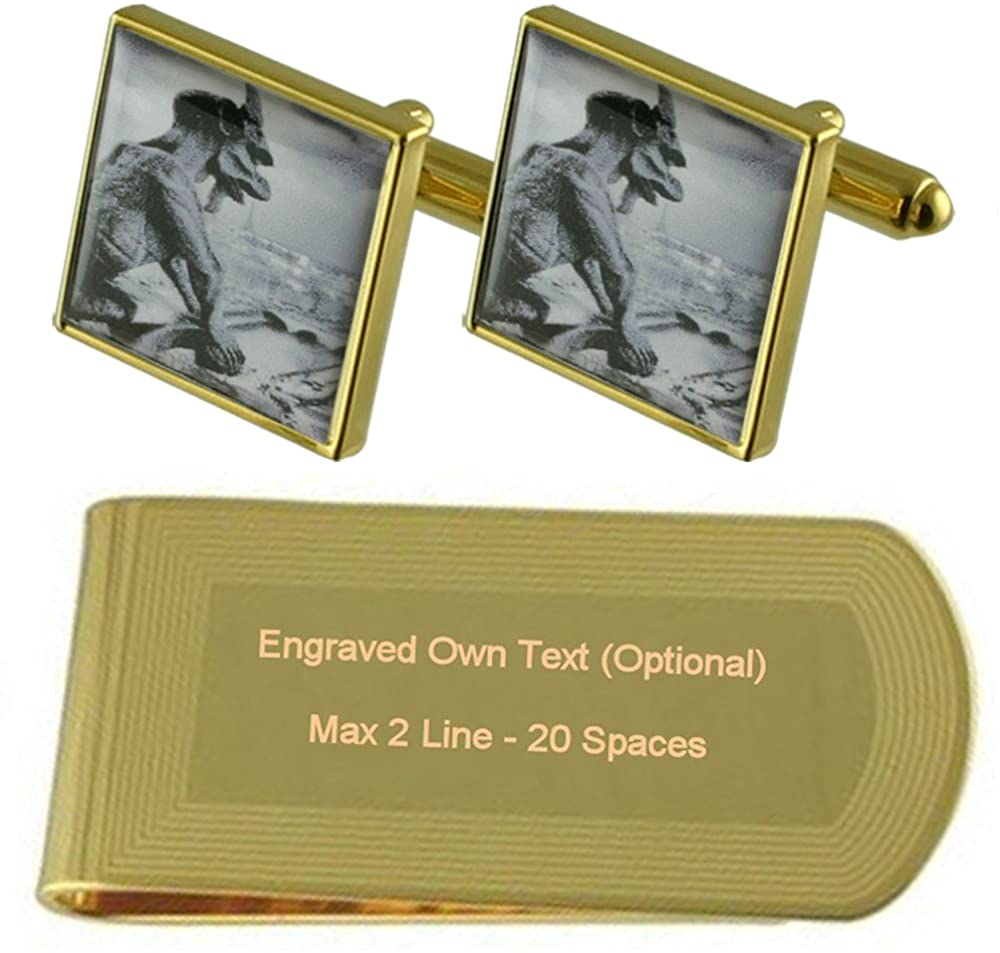 Gargoyle Monster Gold-tone Cufflinks Money Clip Engraved Gift Set