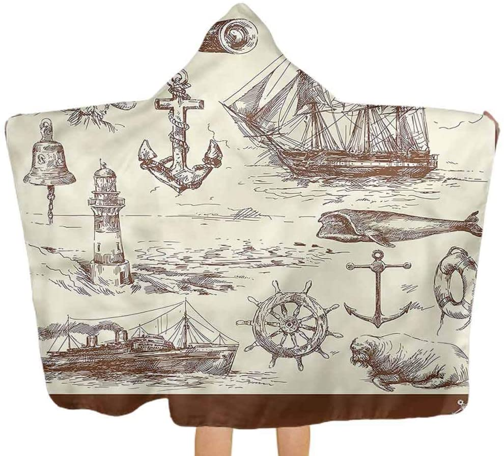 ThinkingPower Hooded Baby Towel Marine, Oceanic Drawing Effect Toddler/Kids Bath Towels with Hood Great Present for Children 51.5x31.8 Inch