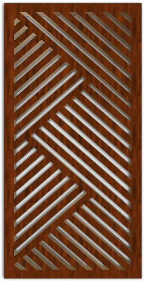 NISH! Decorative Carved MDF Wood Wall Panels for Room Partition, Screen, Divider, Door, Ceiling, Window #015-08 (MDF 12mm Thick, 2.5ft x 5ft, Cherry - Both Sides Painted, 1 pc)