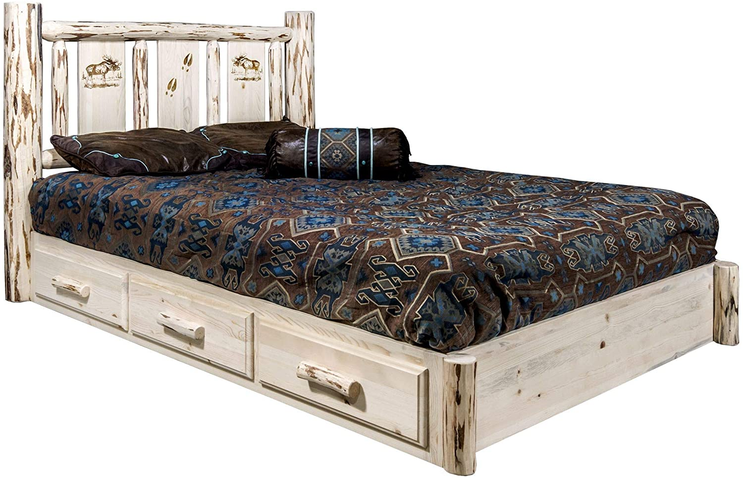 Montana Woodworks Moose Design Laser Engraved Platform Bed in Ready Finish (Queen: 91 in. L x 66 in. W x 47 in. H (266 lbs.))
