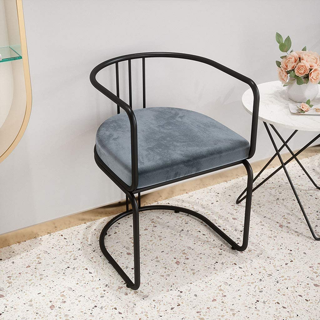QTQZDD Nordic Iron Art Dining Chair - Soft Velvet Cushion Side Chair - Leisure Armchair - Household Dressing Living Room Bedroom Chair,Max Load 100KG