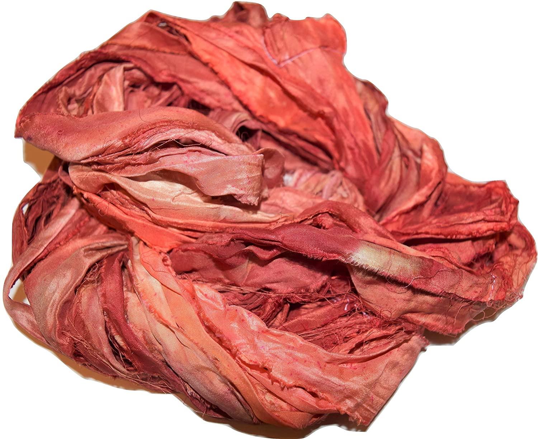 Sari Silk 100 g Ribbon Recycling Yarn Apricot Multi