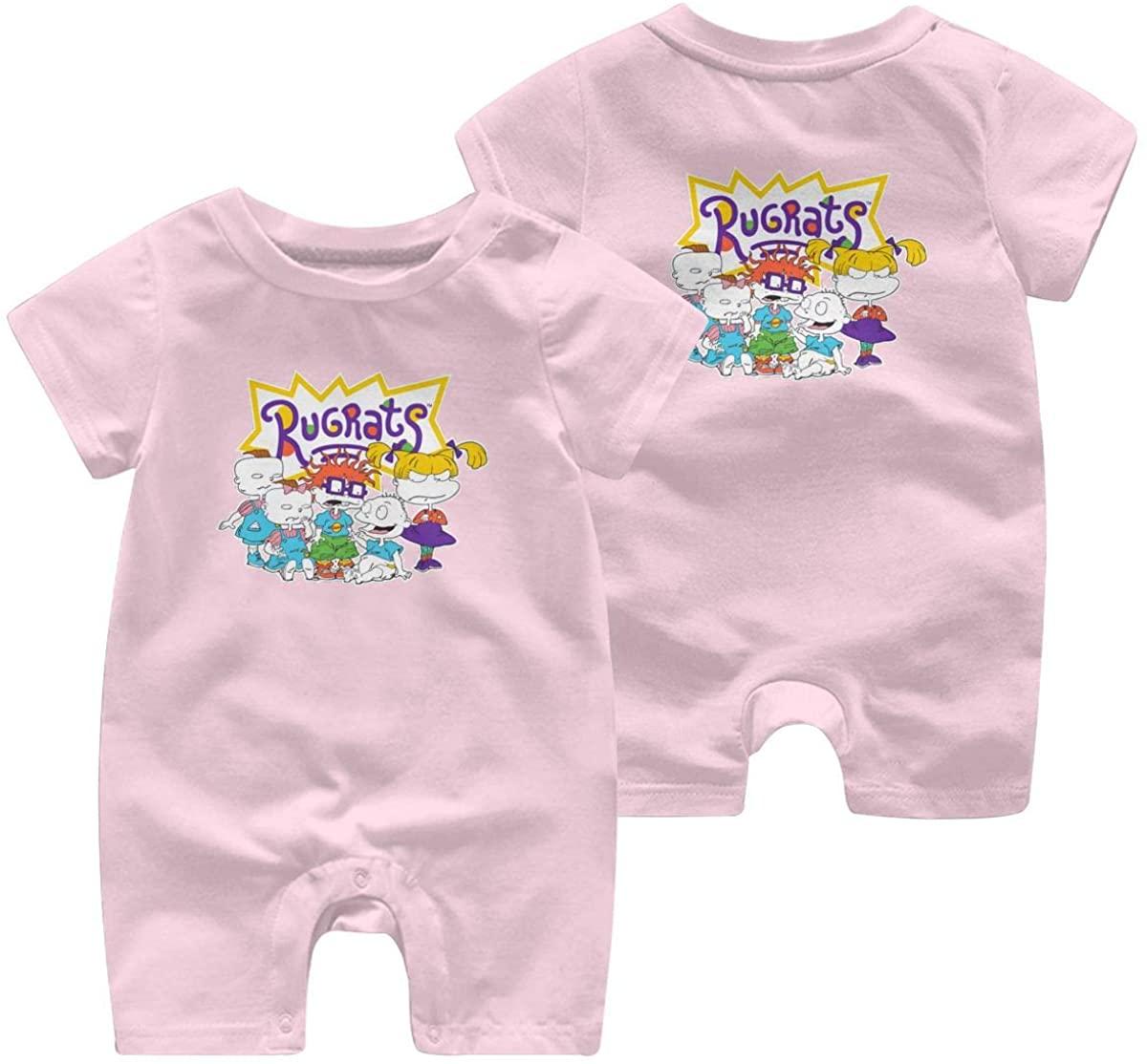 Qwertyi Baby Rugrats Swirl Splatter Short Sleeve Jumpsuit
