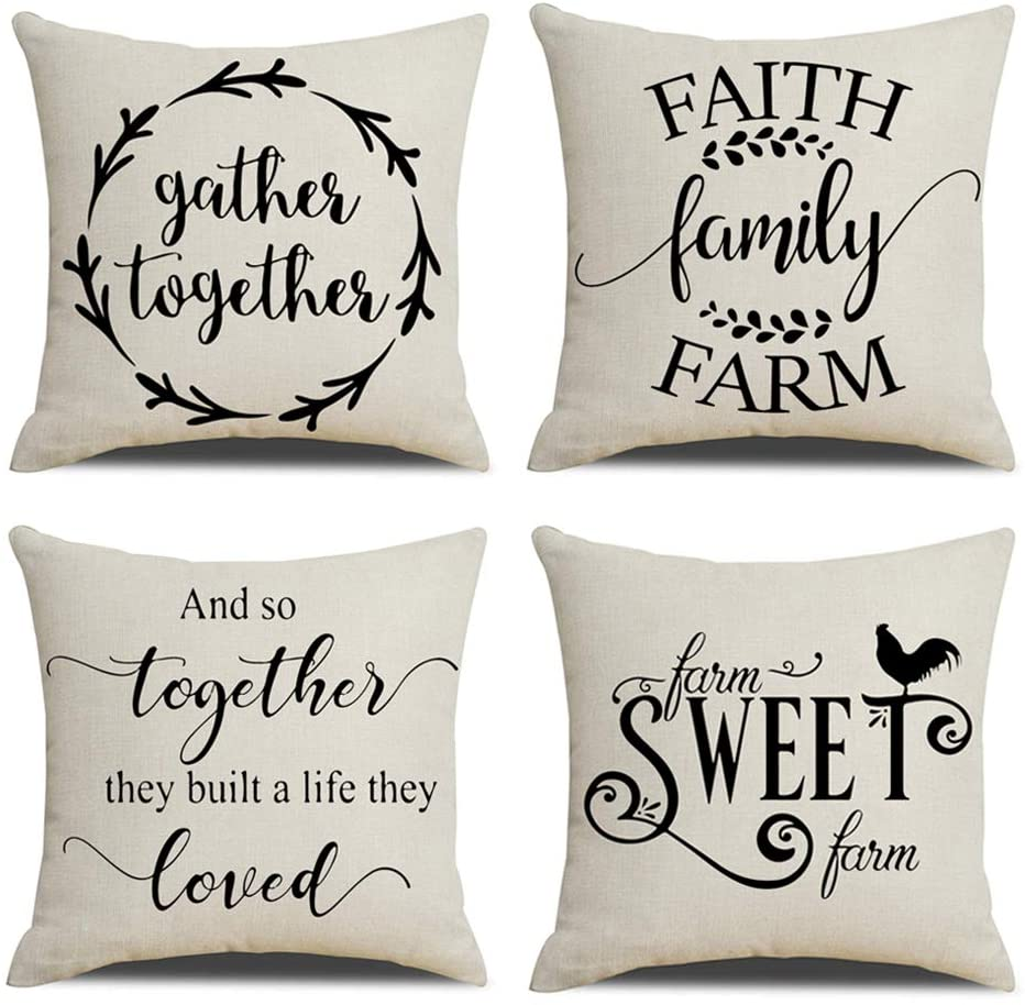 KACOPOL Rustic Farmhouse Quote Pillow Covers Farmhouse Decorative Cotton Linen Throw Pillow Case Cushion Cover with Words 18