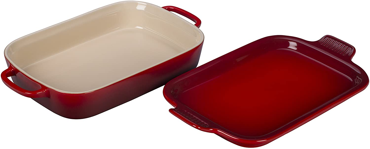 Le Creuset of America PG2015-1367 Le Creuset Stoneware Rectangular Dish with Platter Lid, 14 3/4