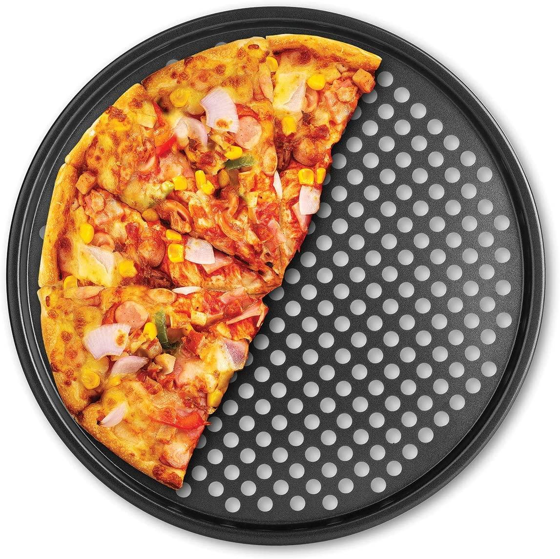 Fox Run 4491 Pizza Crisper Pan, Carbon Steel, Non-Stick,Black,14.5 x 14.5 x 0.25 inches