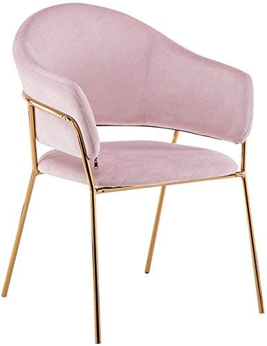 QTQZDD Iron Art Dining Chair Fashion Living Room Chair Velvet Armchair Thicker Upholstered Dressing Chair Coffee Barstool Max Load 150KG (Color:Pink)