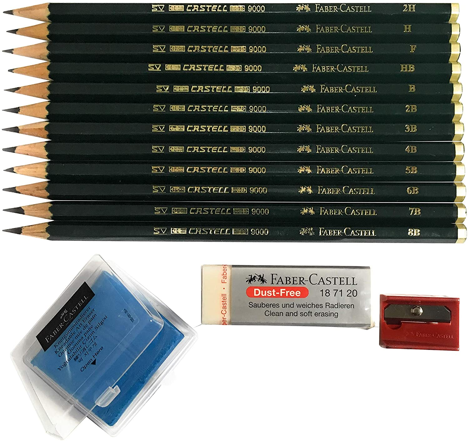 Faber-Castell 9000 Art Graphite Sketch Best Gifts Wood Pencil Sets 12 Counts With 12 Degree of Hardness (2H, H, F, HB.) + 1 Kneaded Art Eraser + 1 Large Dust Free Eraser + 1 Faber Sharpener