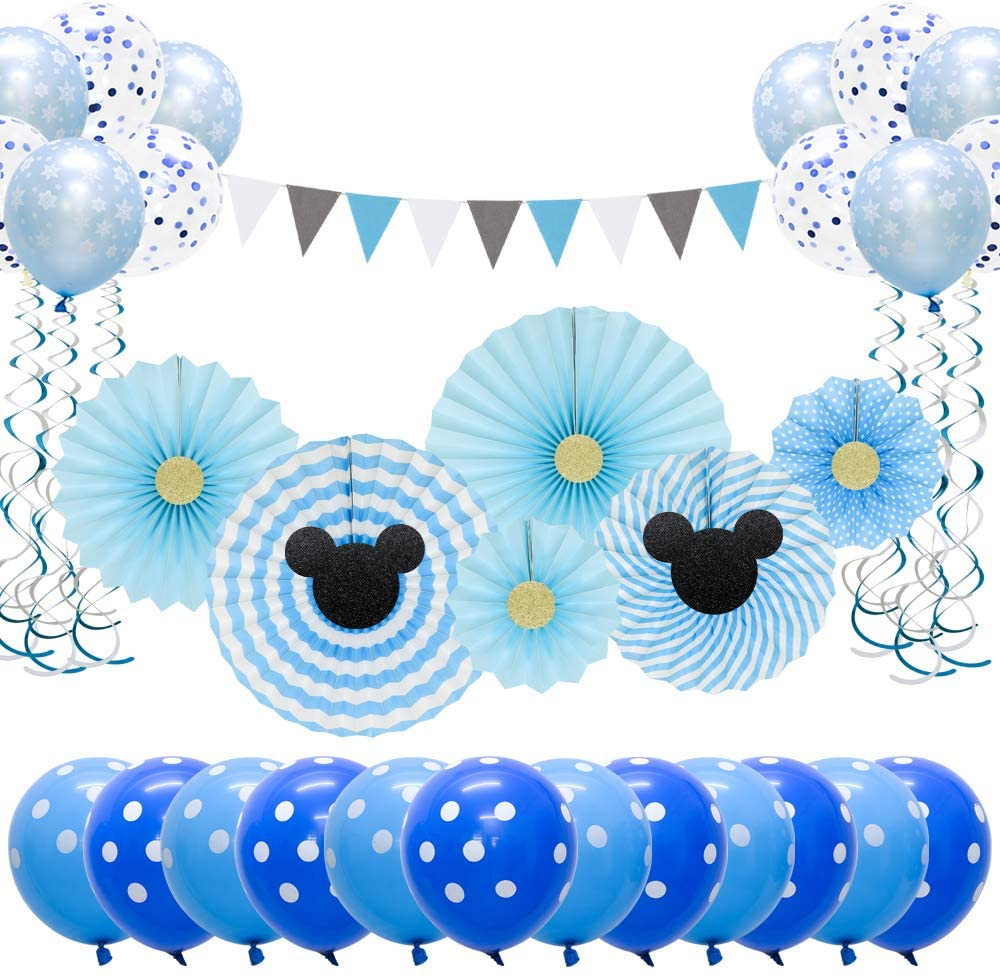 Meiduo Mickey Mouse Birthday Party Supplies Blue Baby Shower Decorations for Boy Room Decor Classroom Decoration