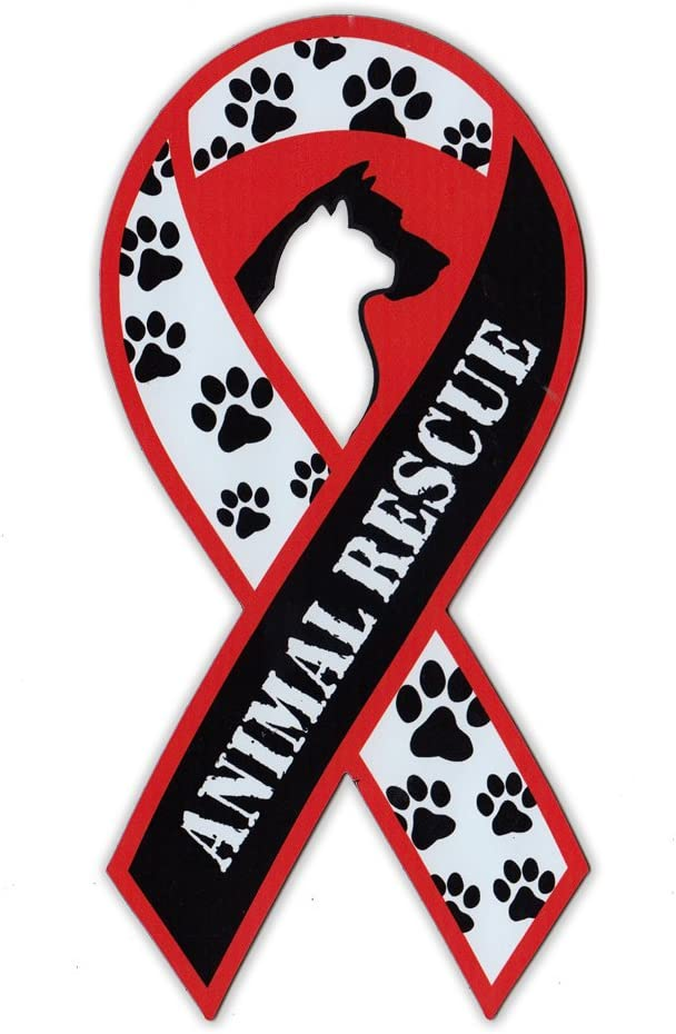 Magnetic Bumper Sticker - Animal Rescue Support Ribbon (Adopt A Pet) - Awareness Magnet - 3.75