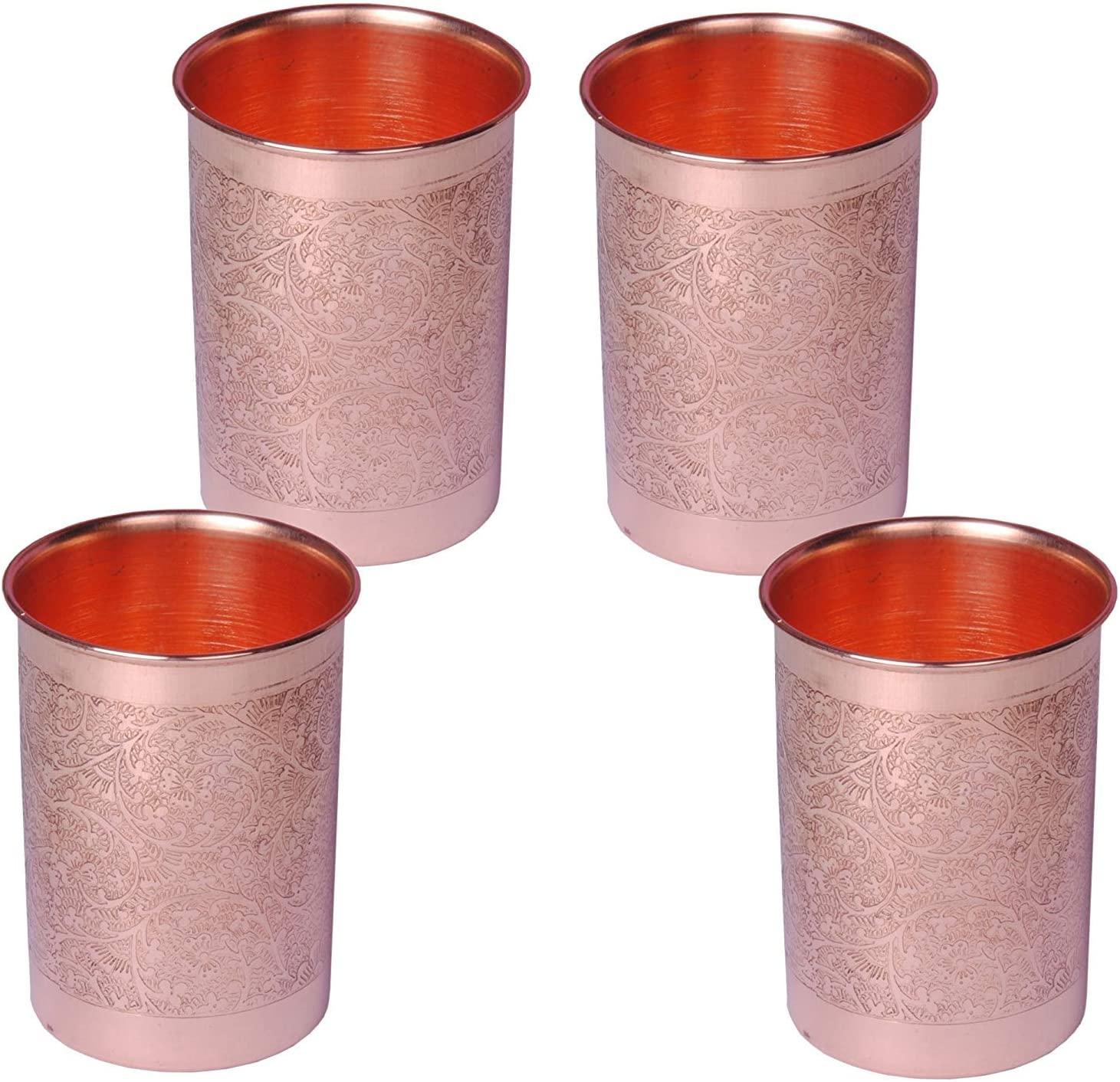 SHIV SHAKTI ARTS Set Of 4 Handmade Pure Copper Glass Embossed Designed With Flat Base Volume=300 ml each