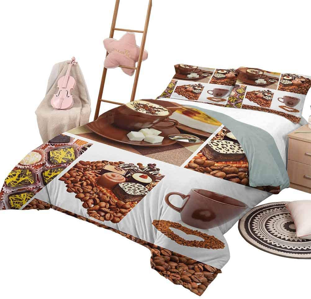 DayDayFun Quilt Set for Kids Kitchen Printed Quilt Cover Collection of Chocolate Sweets Muffins Coffee Beans and Mugs Cappuccino Pastries Queen Size Multicolor