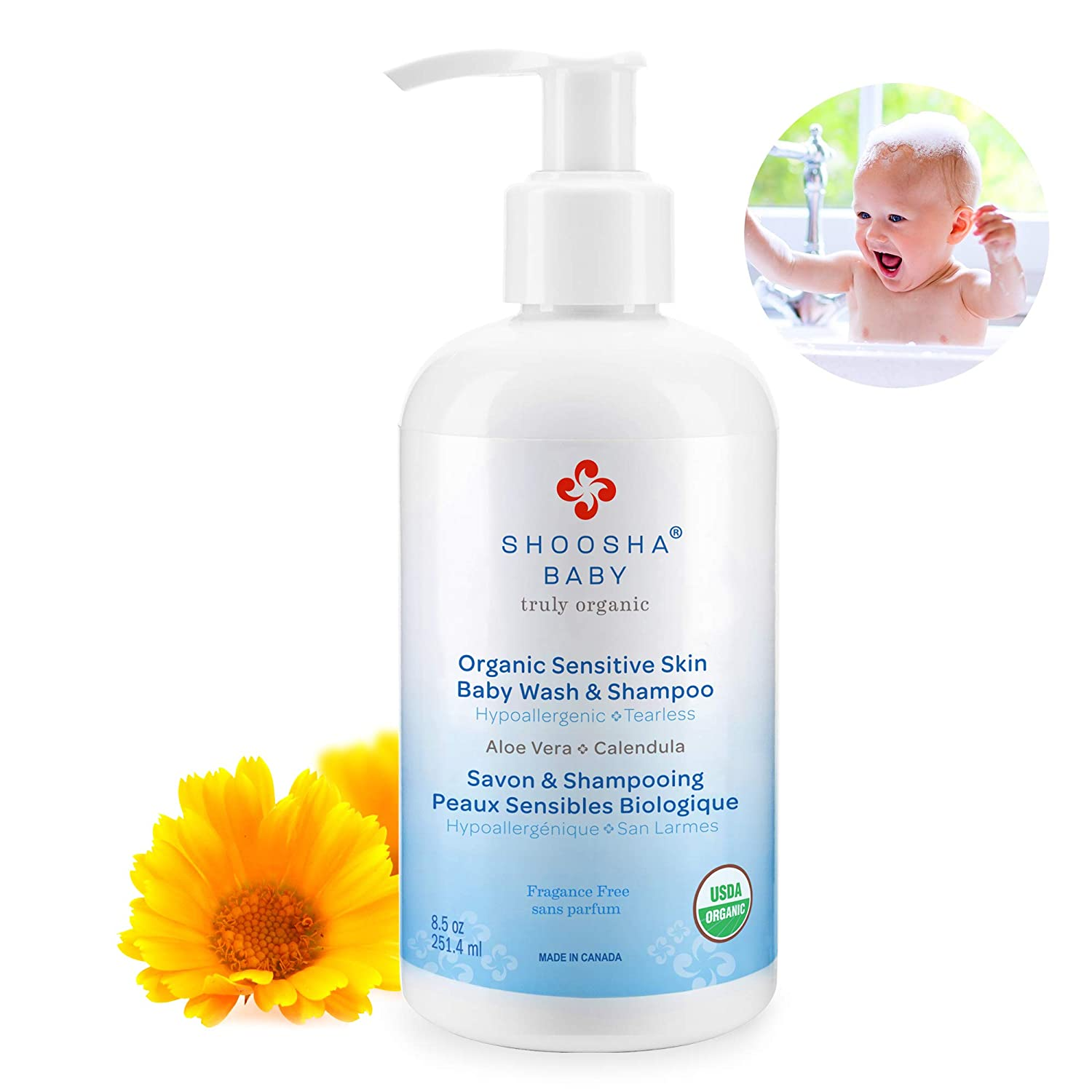 Baby Shampoo and Body Wash Fragrance Free, for Sensitive Skin, Kids Shampoo and Body Wash Tear Free, Hypoallergenic Body Wash, Liquid Hand Soap for the Whole Family, 8.5 oz - Shoosha