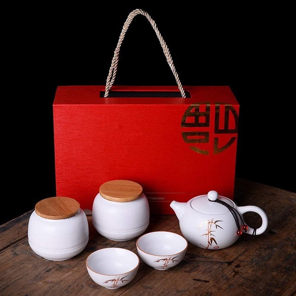 SHENLIJUAN Matt ceramic kung fu tea gift set of creative Ding white porcelain pot six cups companies (Color : Like a fish)