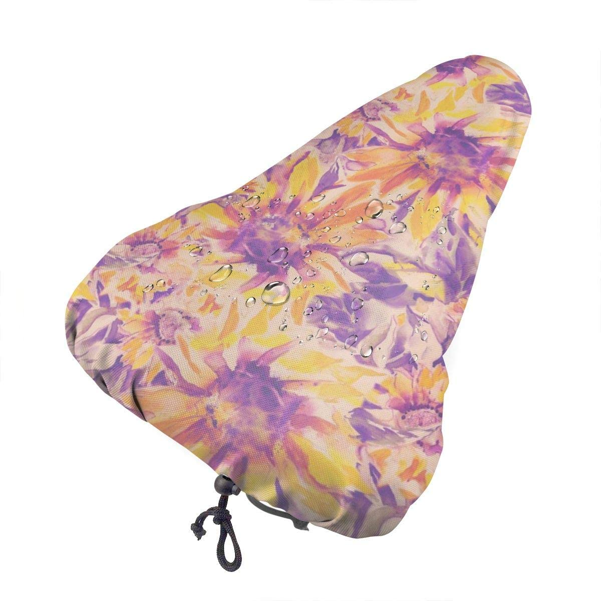 ZHOUSUN Waterproof Bike Seat Cover Tropical Sunflowers Seamless Pattern Bicycle Saddle Rain Dust Covers with Drawstring,Comfort for Women,Men,Kids
