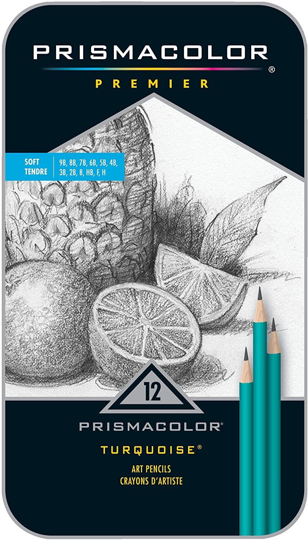Prismacolor Premier Turquoise Graphite Sketching Pencils, Soft Leads, 12 Count