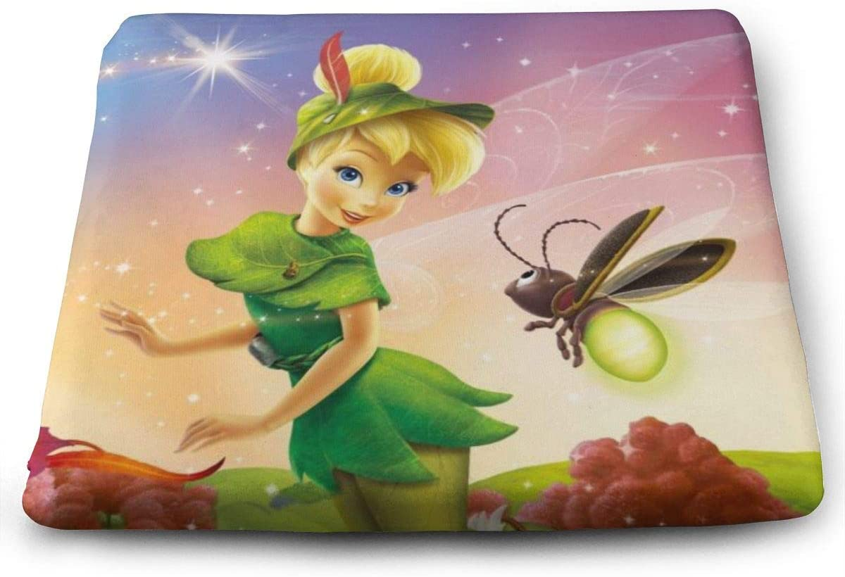 Tinker Bell Square Cushion Thick Large Soft Mat Floor Pillow Seating for Home Decor Garden Party for Chair Pads 15 x 13.7 x 1.2 Inch