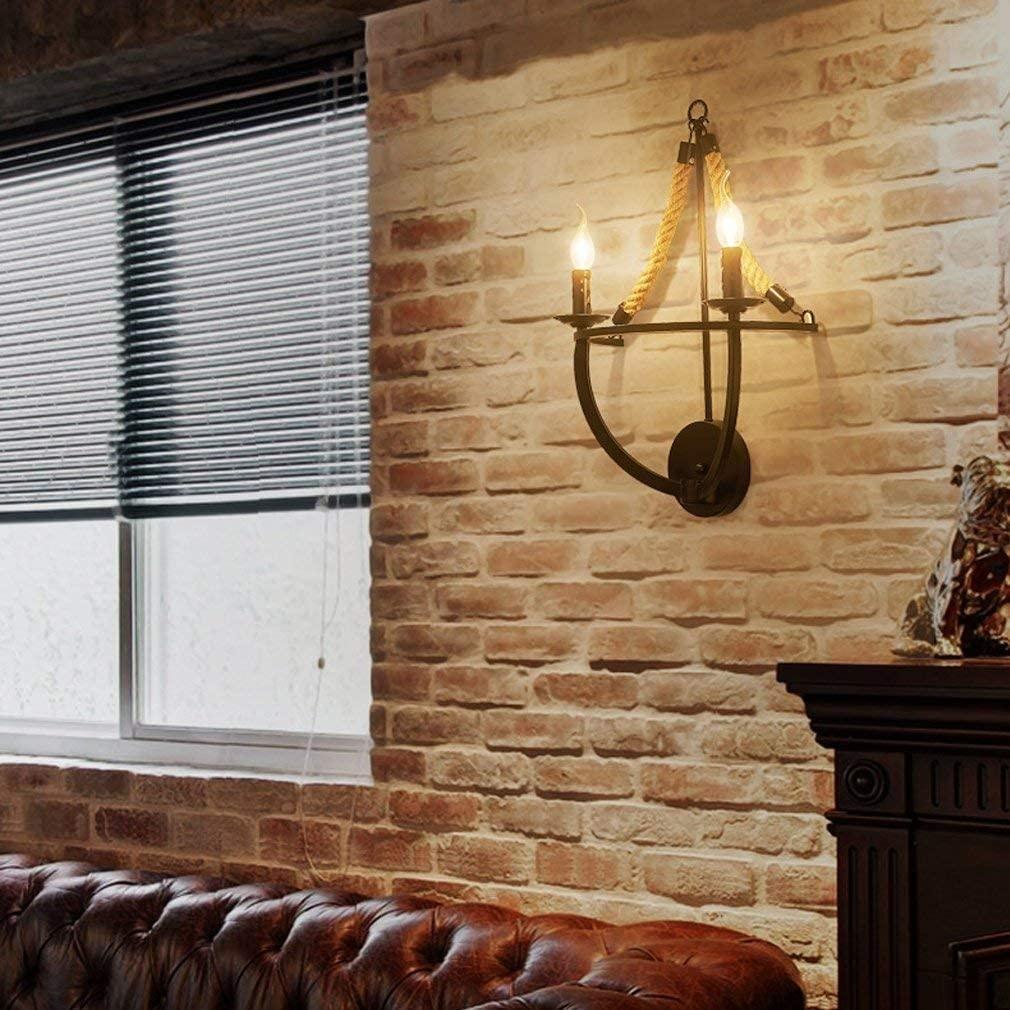 BOSSLV Wall Light Retro Industrial Wall Lamp Parlor Bedchamber Headboard Study Hall Bar Decoration Indoor Lighting Black Art Iron Wall Lighting 2E14 Max.40W W37CmH56Cm