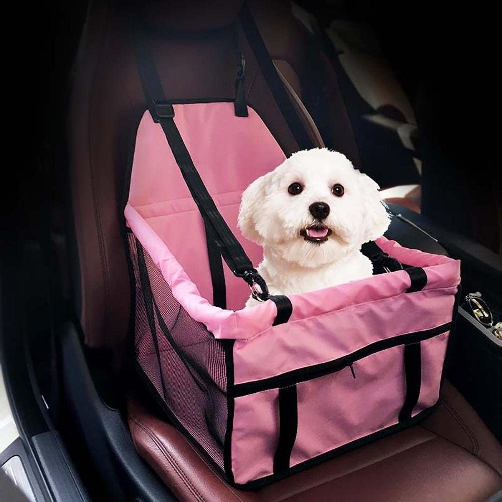 LOHUA Car Booster Seat Carrier for Dog Folding Pet Cat Car Travel Safety Seat, Pink