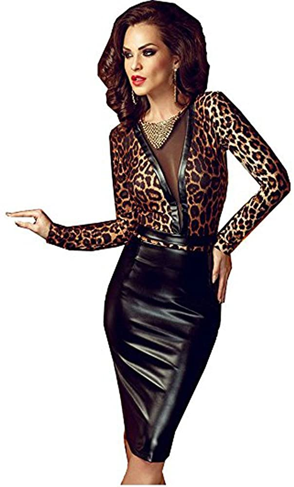 FASHION QUEEN Women Sexy Faux Leather Dress Long Sleeve Leopard Print Bodycon Transparent Clubwear