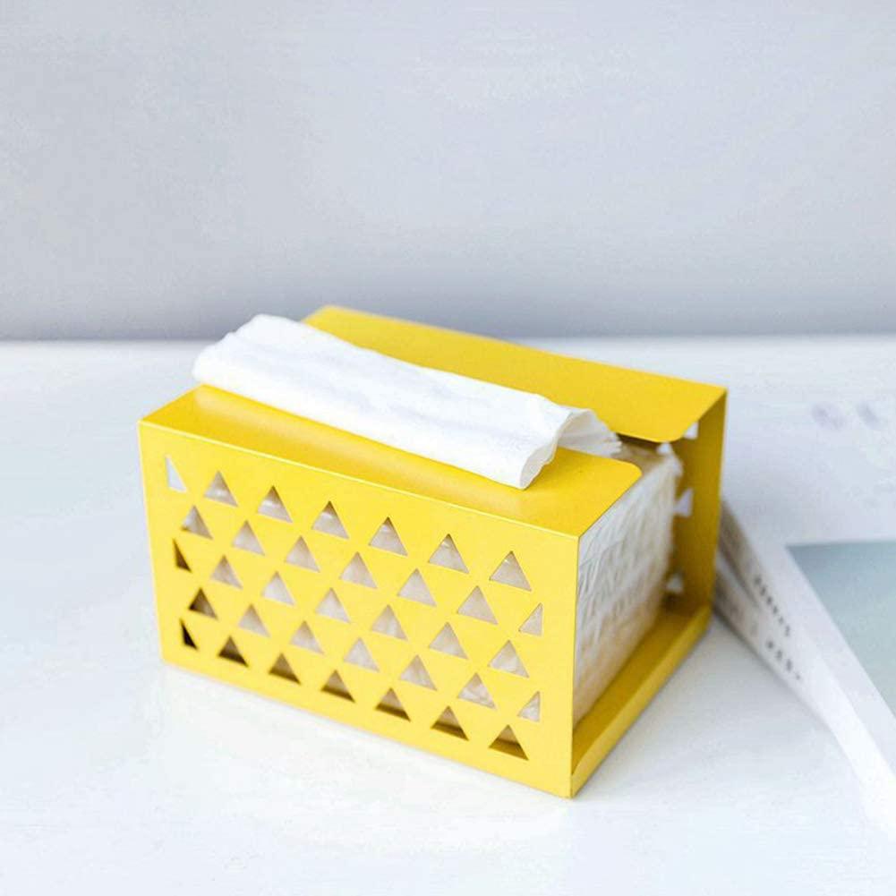 Studyset Modern Tissue Box Cover,Iron Tissue Box Napkin Paper Holder for Home Office Desktop Storage Yellow