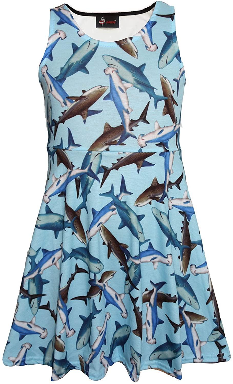 Girls Childrens Cute Sharks Sealife Animal Print Sleeveless Skater Dress