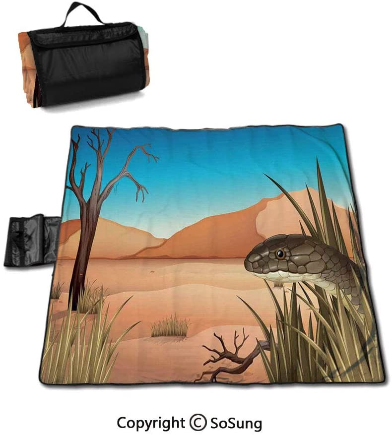 Sea Animal Decor Picnic Blanket with Tote,Collection Types of Sharks Bronze Whaler and Piked Dogfish Fox Maritime Design Foldable & Waterproof Camping Mat for Outdoor Beach Hiking Grass Travel,Multi