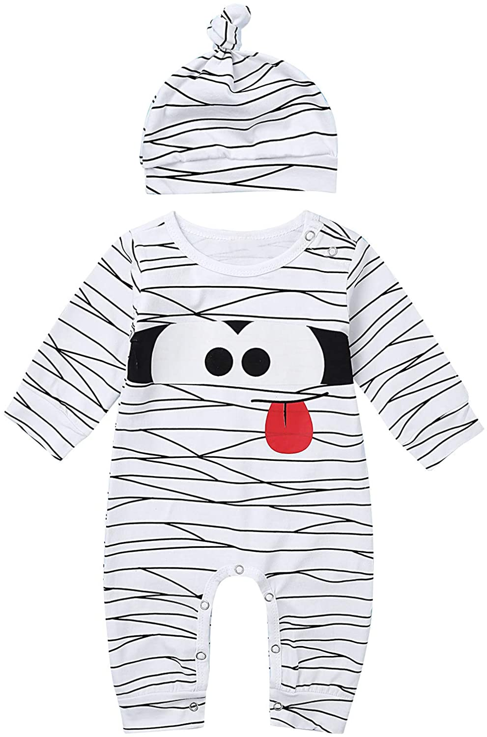 Freebily Infant Baby Boys Girls Long Sleeve Striped Romper Cartoon Animal Printed Shirt Top with Hat Sleepwear Jumpsuit